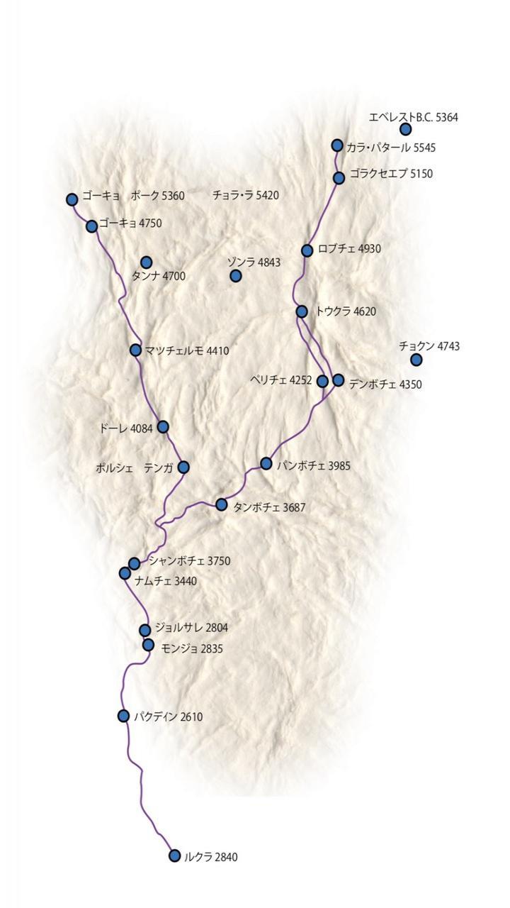 ゴーキョトレッキング 9日間 Trip Route Map