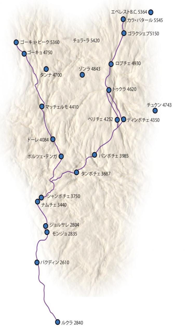 ゴーキョトレッキング 10日間 Trip Route Map