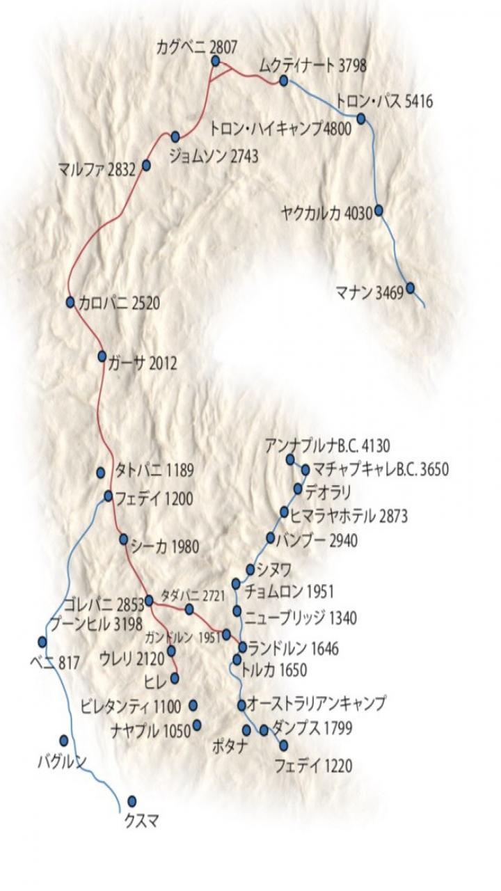 アンナプルナベースキャンプトレッキング 10日間 Trip Route Map