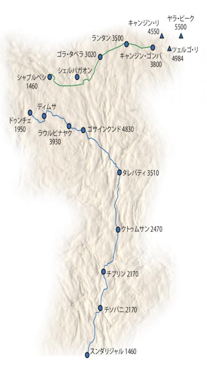 ランタンキャンジンゴサインクンド トレッキング  Trip Route Map