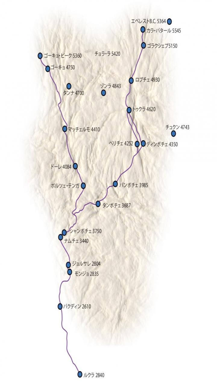 エベレストベースキャンプトレッキング11日間 Trip Route Map