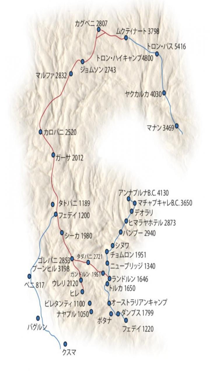 アンナプルナベースキャンプトレッキング5日間 Trip Route Map